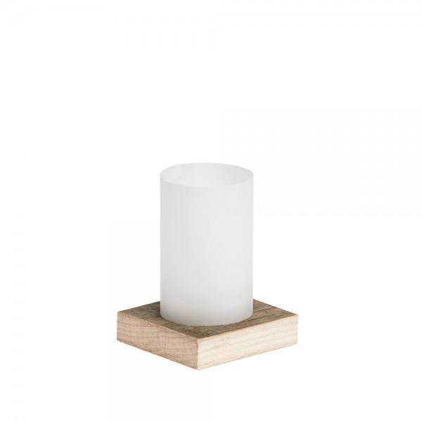 Licht2 - Windlicht mit Recyclingholz-Sockel