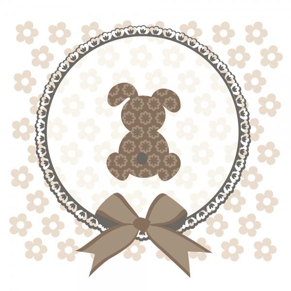 910486 - Perlenkarte Hase-braun