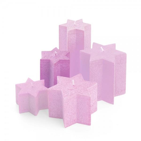 K11013 - Sternkerzen pink, Durchmesser 100mm, Höhe 110mm