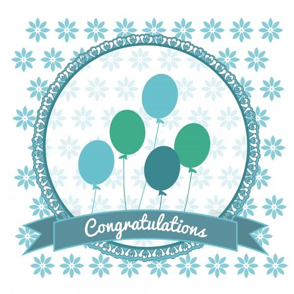 910493 - Perlenkarte Congratulations-blau
