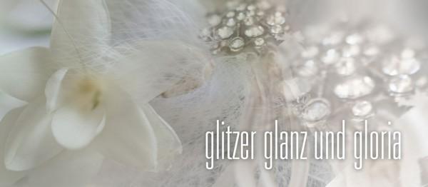 910685 - Windlichtkarte: Glitzer Glanz und Gloria (Stilbild weiss)