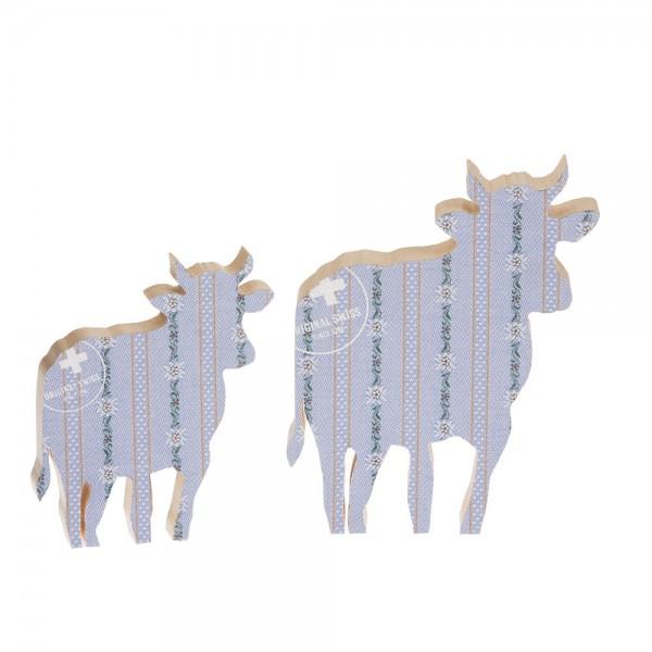 911650 - Kuh zum Aufstellen (2-tlg.) klein/gross - Stoff blau