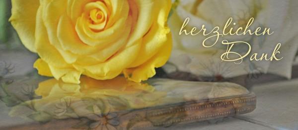 910947 - Windlicht (3 Stk.): Herzlichen Dank (gelbe Rose, goldbeige)