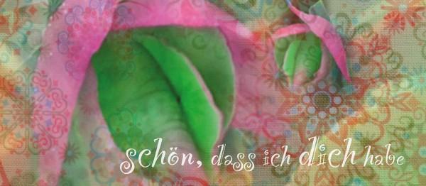 910642 - Windlichtkarte: Schön, dass ich dich habe (Stilbild rosa-grün)