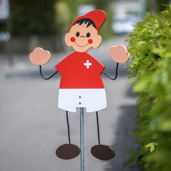"""Köbi Fussball-Strassenfigur Schweiz - """"Achtung Kinder"""" Warntafel"""