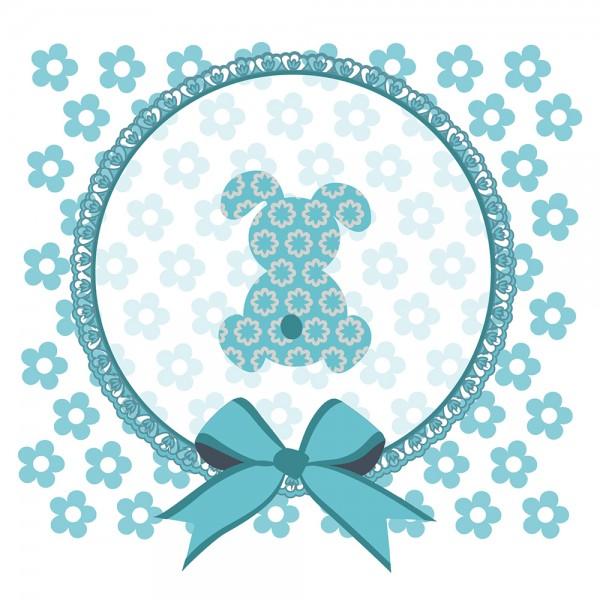 910488 - Perlenkarte Hase-blau