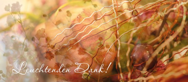 910657 - Windlichtkarte: Leuchtenden Dank (Stilbild grün-braun)