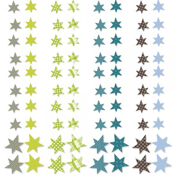 Papier-Streusterne - grün/blau (4-tlg. assortiert)
