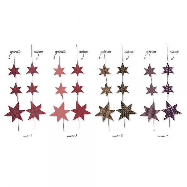 Sterngirlande rot (Set mit 4 Girlanden assortiert)