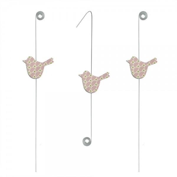 911285 - Topfstecker/Hängedeko Vögel (3-tlg.) - Rosatöne