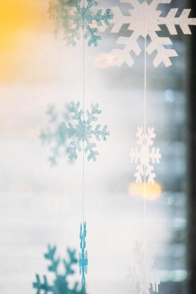 Schneegestöber Girlande zum Aufhängen weiss