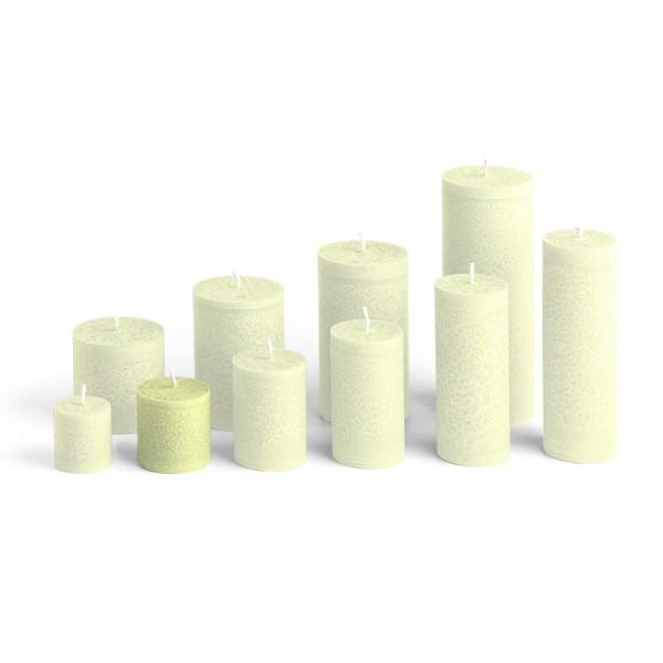 D05022 - Blockkerze lindengrün, Durchmesser 50mm, Höhe 50mm