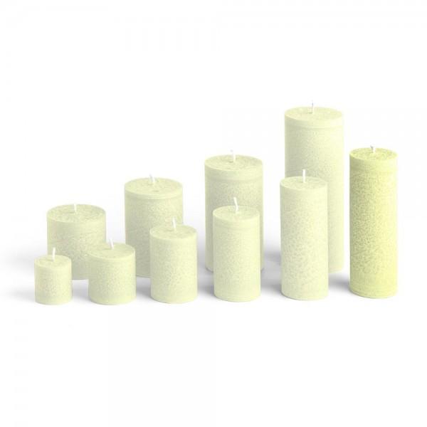 D15022 - Blockkerze lindengrün, Durchmesser 50mm, Höhe 150mm