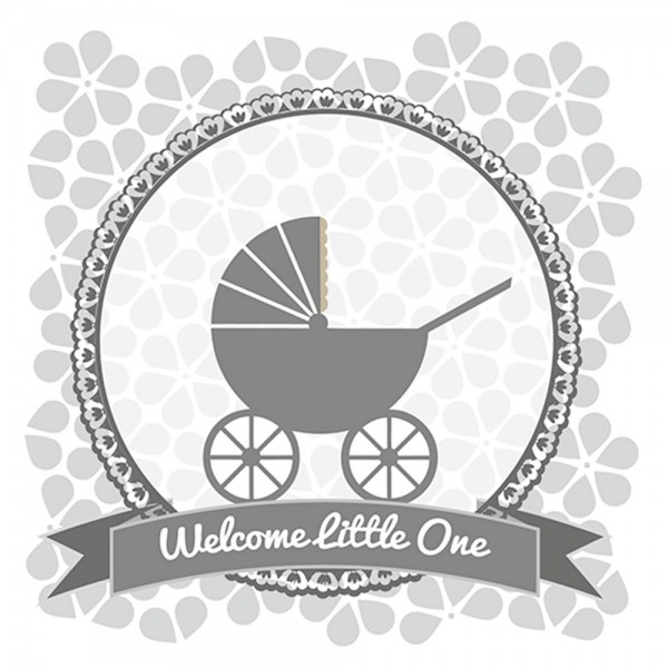 910452 - Perlenkarte Baby-grau