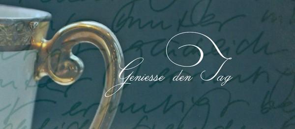910611 - Windlichtkarte: Geniesse den Tag (Tasse gold)