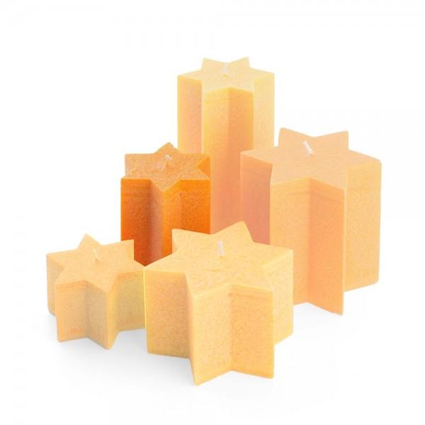 K11018 - Sternkerzen orange, Durchmesser 100mm, Höhe 110mm