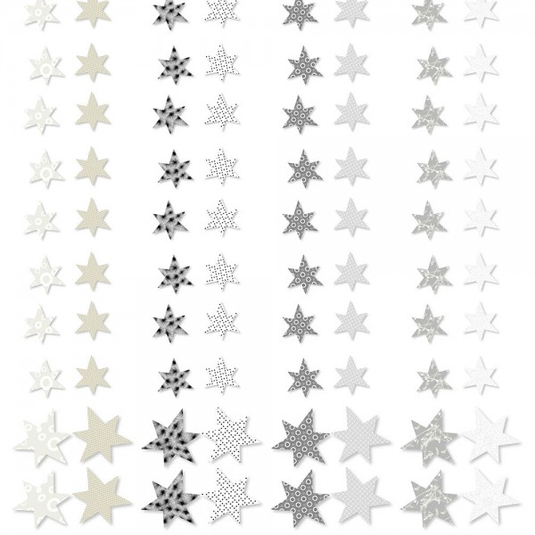 Papier-Streusterne - schwarz/weiss (4-tlg. assortiert)