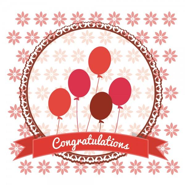 910495 - Perlenkarte Congratulations-rot