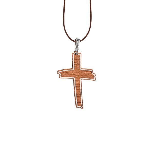 Schmuckholz Halskette Cross Outline