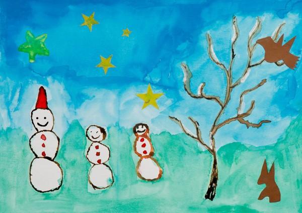 Weihnachtskarte - Schneemänner