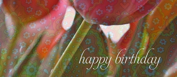 910726 - Windlicht (3 Stk.): Happy Birthday ( Tulpen mit Muster)