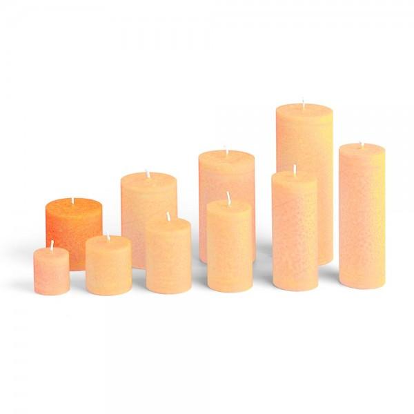 E06518 - Blockkerze orange, Durchmesser 65mm, Höhe 65mm