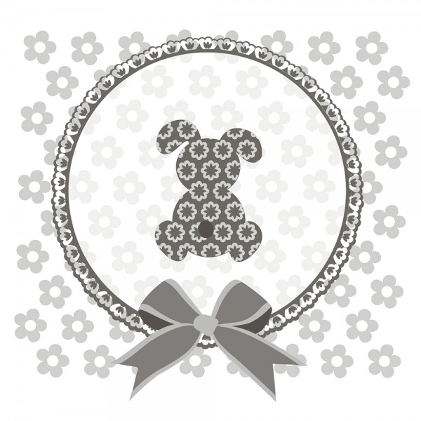 910487 - Perlenkarte Hase-grau