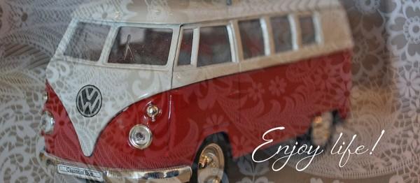 910839 - Windlichtkarte: Enjoy life! (VW-Bus)