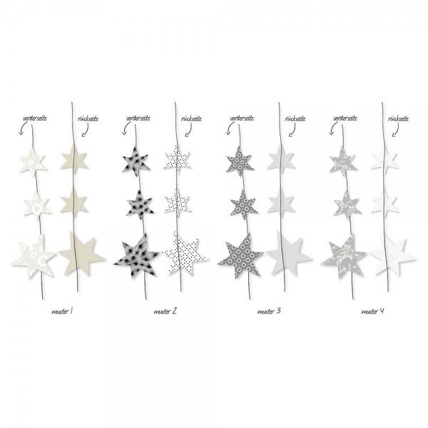 Sterngirlande schwarz/weiss (Set mit 4 Girlanden assortiert)
