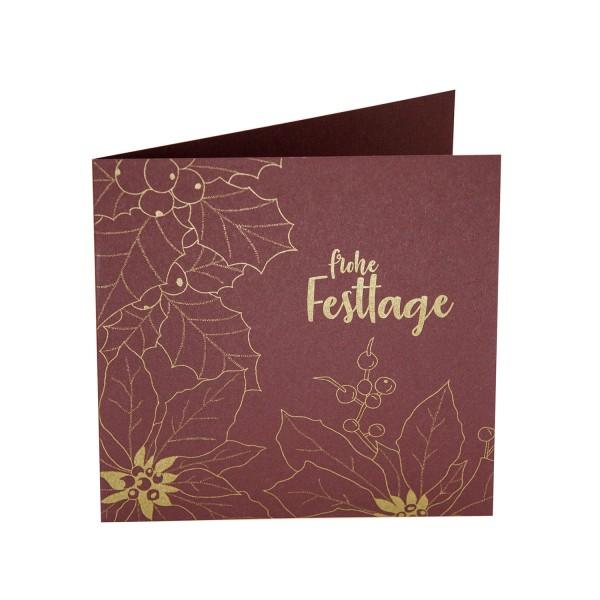 Weihnachtskarte - Festtage botanisch quadratisch