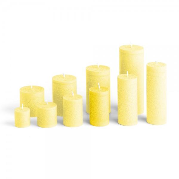 D09020 - Blockkerze zitronengelb, Durchmesser 50mm, Höhe 90mm