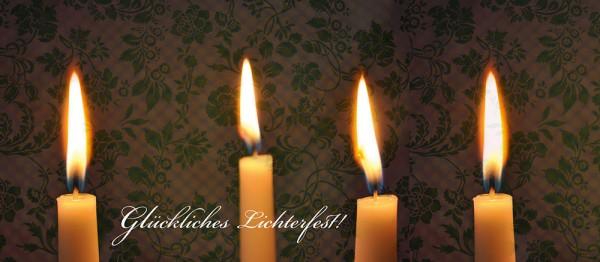 910655 - Windlichtkarte: Glückliches Lichterfest (4 Kerzen)