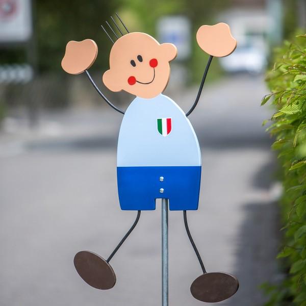 """Luigi Fussball-Strassenfigur Italien - """"Achtung Kinder"""" Warntafel"""