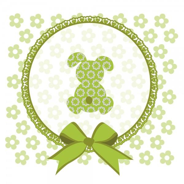 910489 - Perlenkarte Hase-grün