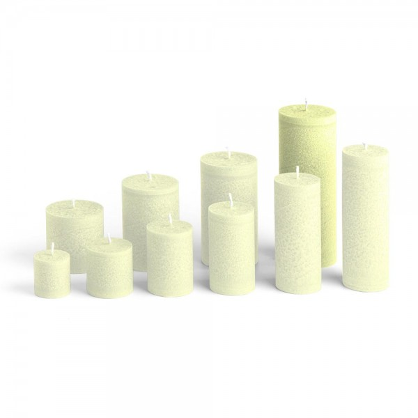E17522 - Blockkerze lindengrün, Durchmesser 65mm, Höhe 175mm