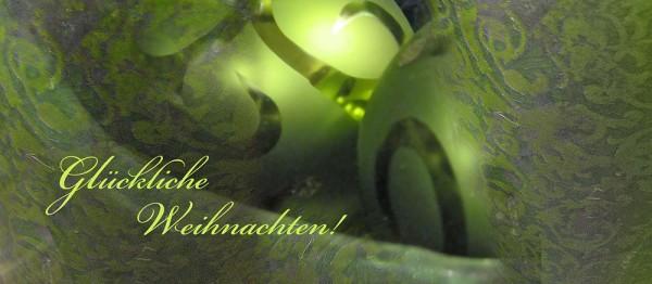 910621 - Windlichtkarte: Glückliche Weihnachten (Kugeln grün)