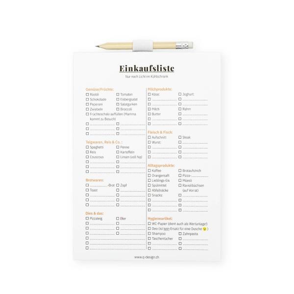 Notizblock - Einkaufsliste