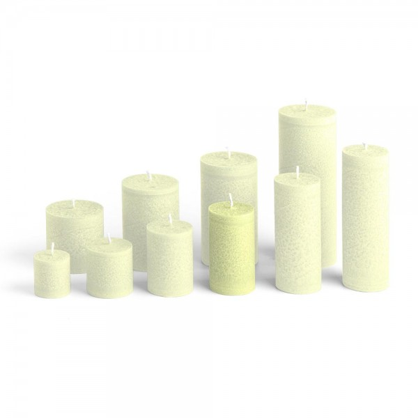 D09022 - Blockkerze lindengrün, Durchmesser 50mm, Höhe 90mm