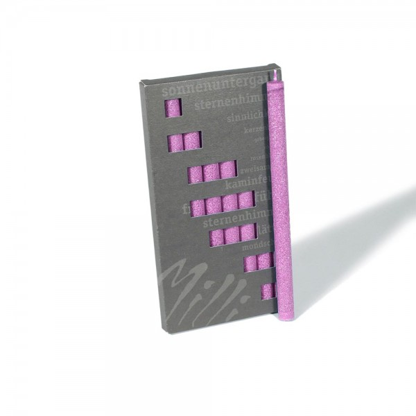 P19013 - Partykerzen Milli, pink, Durchmesser 12mm, Länge 190mm
