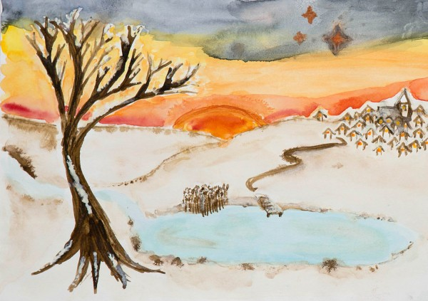 Weihnachtskarte - Winter-Sonnenuntergang