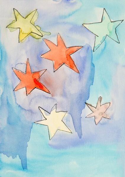Weihnachtskarte - Bunte Sterne