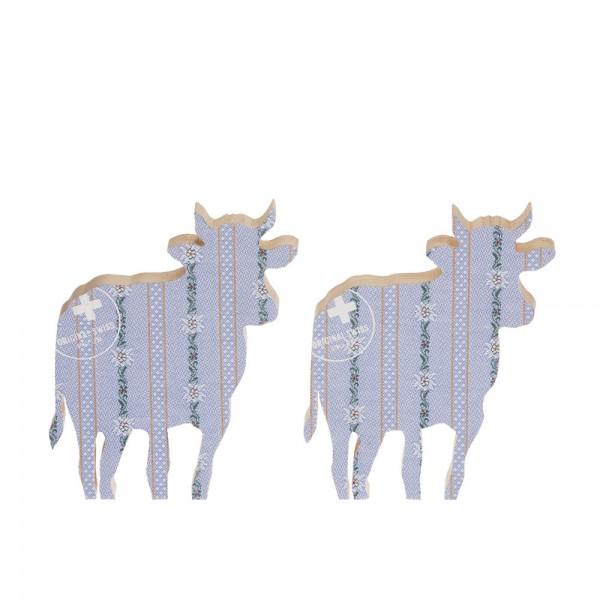 911651 - Kuh zum Aufstellen (2-tlg.) klein - Stoff blau