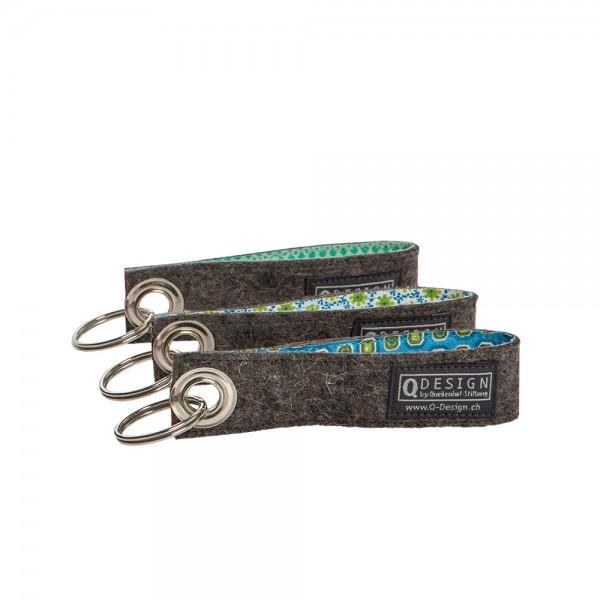 Schlüsselanhänger (3-tlg. grün/blau assortiert)