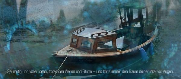 910610 - Windlichtkarte: Sei mutig (Schiff)
