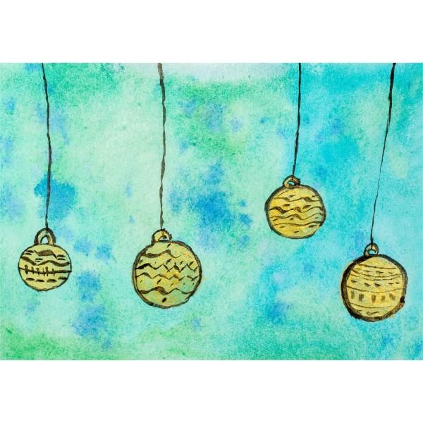 Weihnachtskarte - Christbaumkugeln
