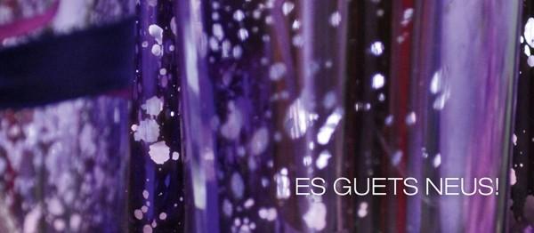 910603 - Windlichtkarte: Es guets Neus (Collage violett)