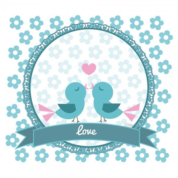910483 - Perlenkarte Love-blau